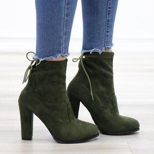 Round Toe Olive Suede Ankle Heeled Boots, Booties